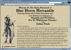Screenshot of Blue Heron Mercantile's Web Site