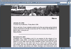 Screenshot of Coley Station's Web Site