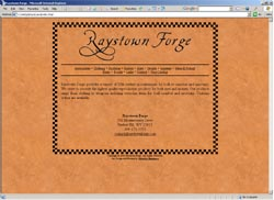 Screenshot of Raystown Forge's Web Site